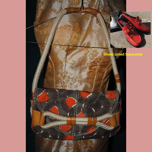 BCBGirl Canvas & Leather Baguette w/ Rope Straps